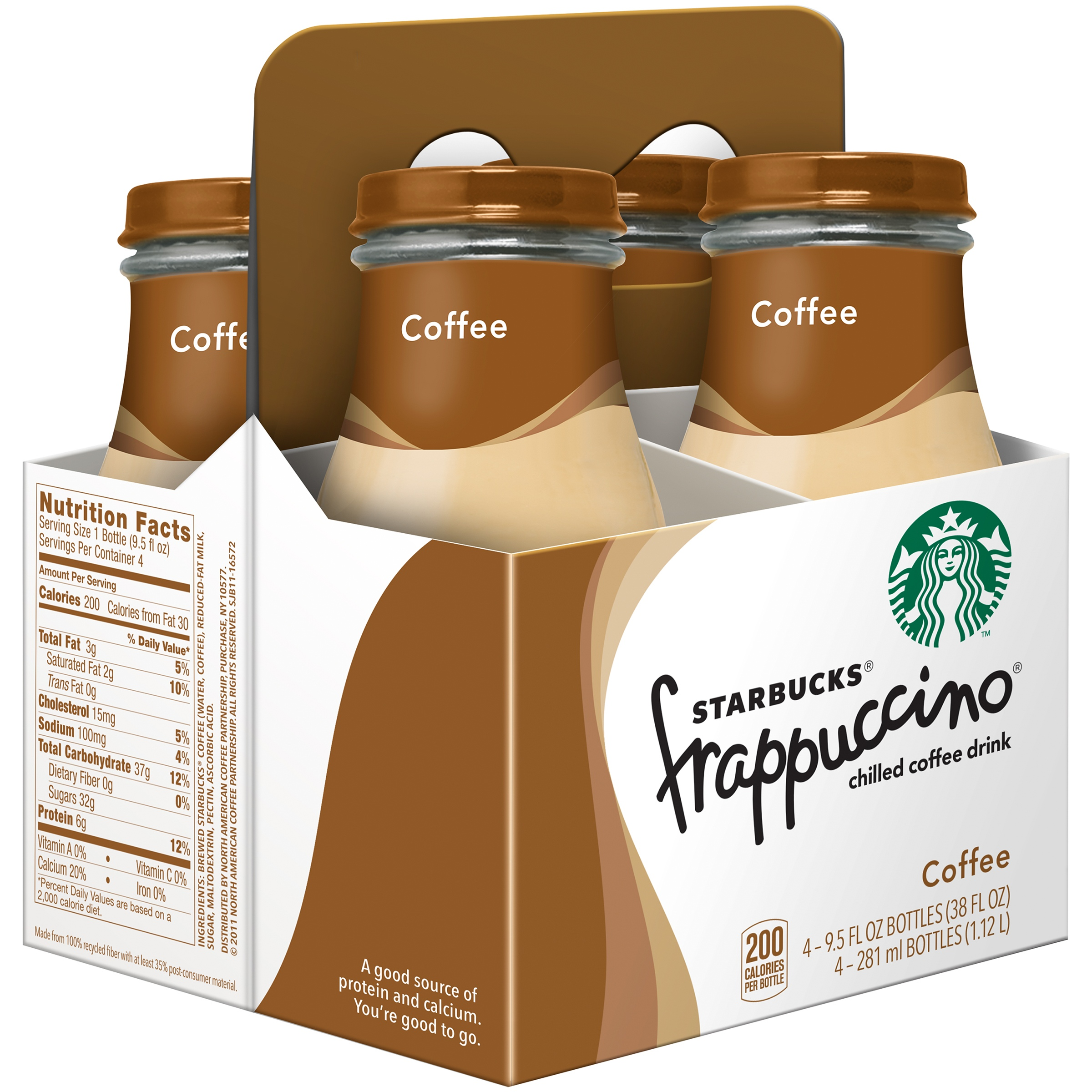 Starbucks; Frappuccino; Chilled Coffee Drink, Coffee, 4 Count, 9.5 fl. oz. Glass Bottles