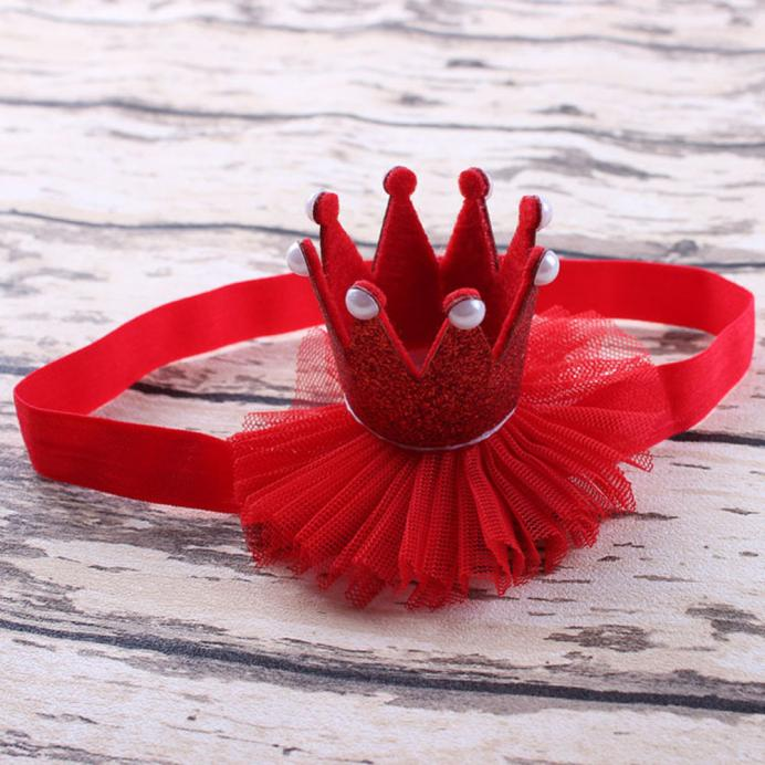 Outtop Girl Head Accessories Hairband Baby Elastic Flower Crown Headwear Red