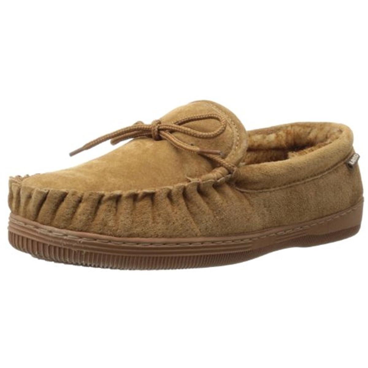 Lamo Mens Moc Suede Fleece Lined Loafer Slippers by Lamo