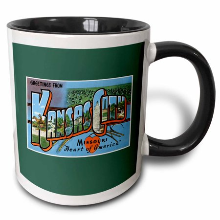 - 3dRose Greetings from Kansas City Missouri Heart of America Scenic Postcard - Two Tone Black Mug, 11-ounce