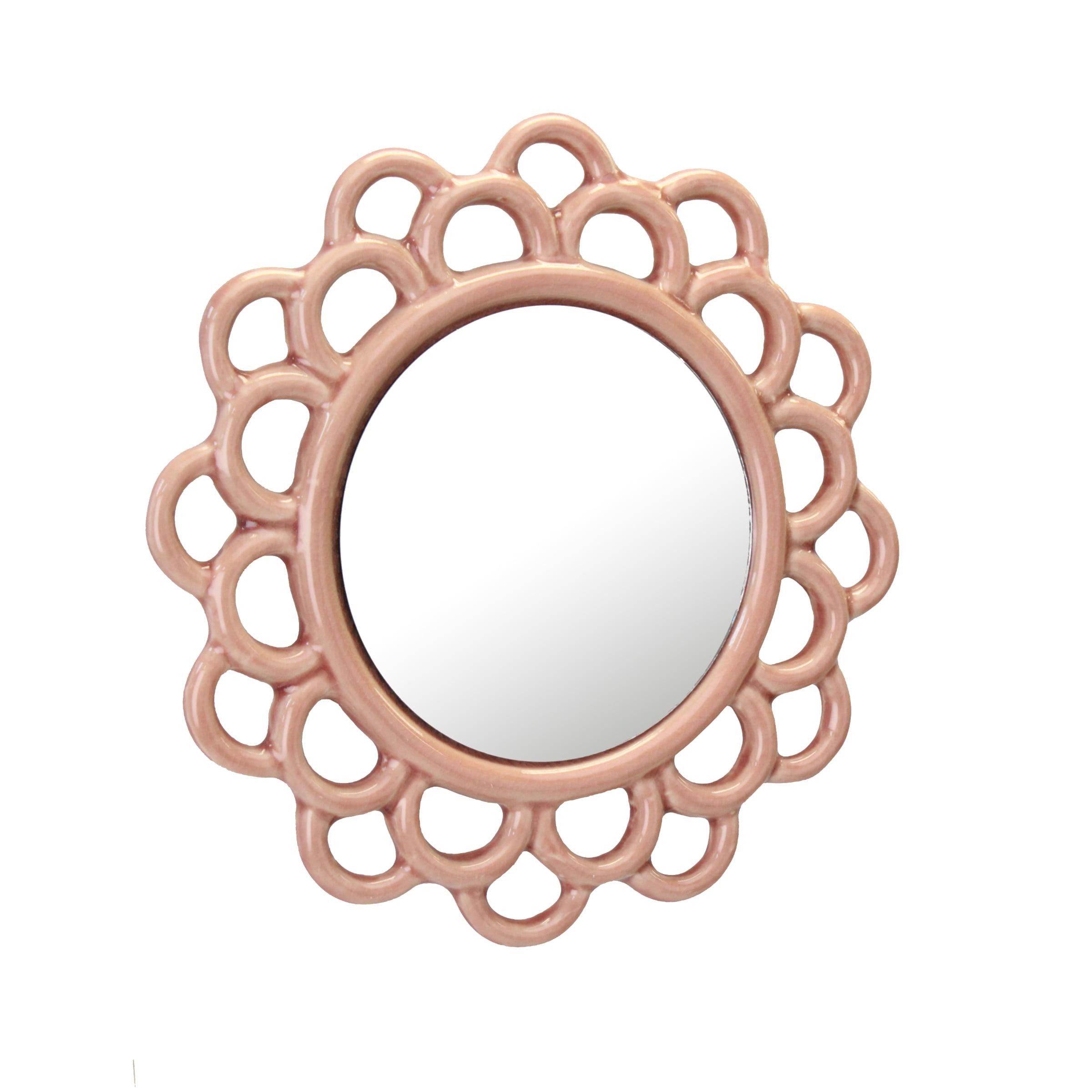 Stonebriar Decorative Round Pink Dusty Rose Cutout Ceramic Wall Hanging Mirror Walmart Com Walmart Com