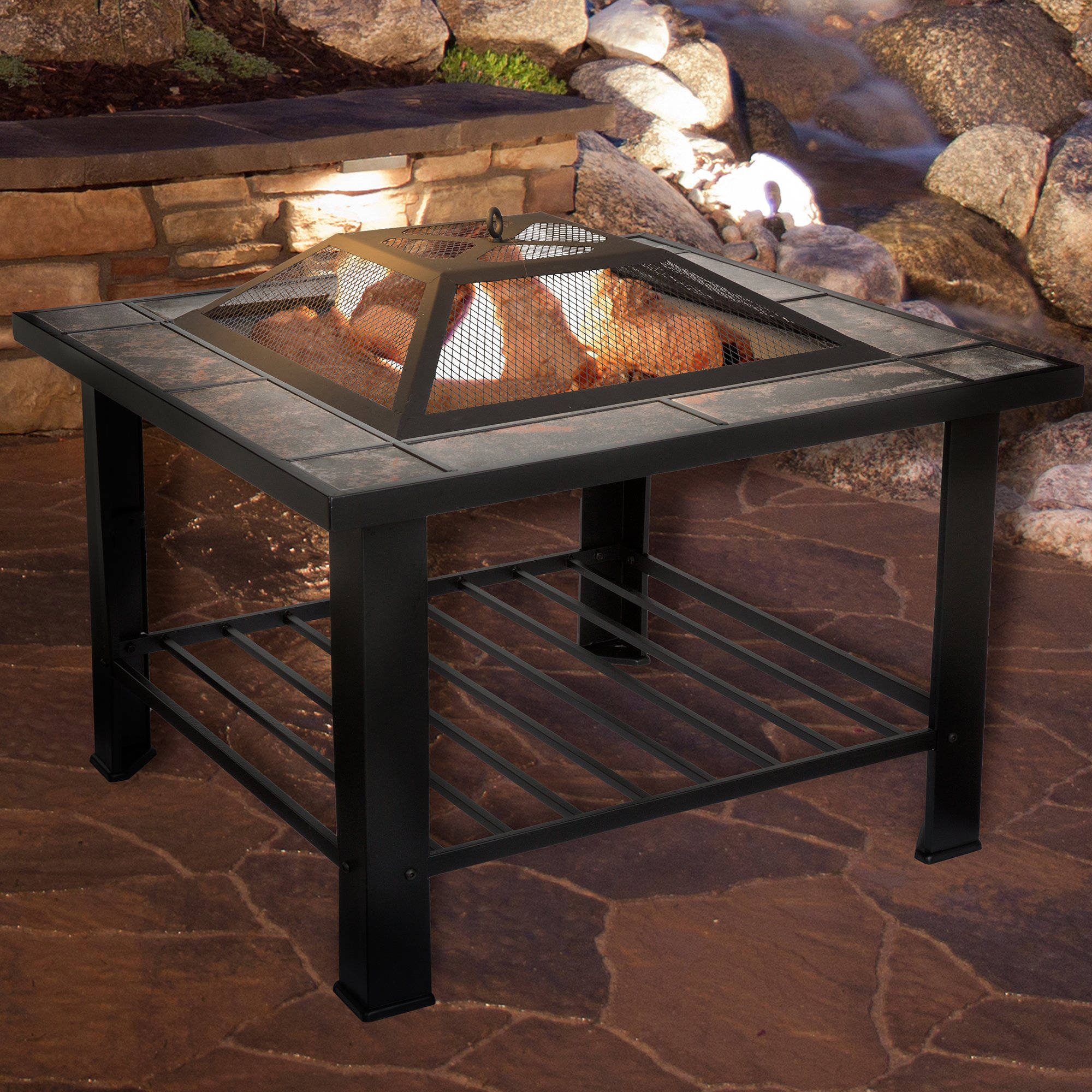 Fire Pit Set, Wood Burning Pit - Includes Screen, Cover and Log Poker - Great for Outdoor and Patio, 30 inch Square Marble Tile Fire pit by Pure Garden