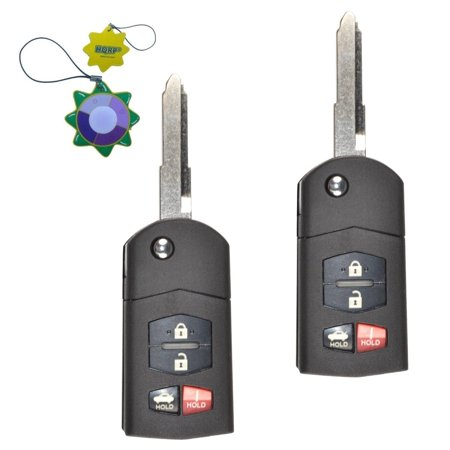 HQRP 2-Pack Remote Flip Folding Key Fob Shell Case Keyless Entry w/4 Buttons for Mazda CX-7 2007 2008 2009 2010 2011 2012 + HQRP UV