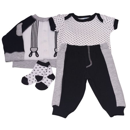 Baby Boys Gray Dot Lap Shoulder Bodysuit Pants Top Socks 4 Pc Outfit](Duck Outfit)