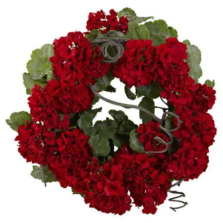 17 in. Geranium Wreath in Red and (Geranium Wreath)