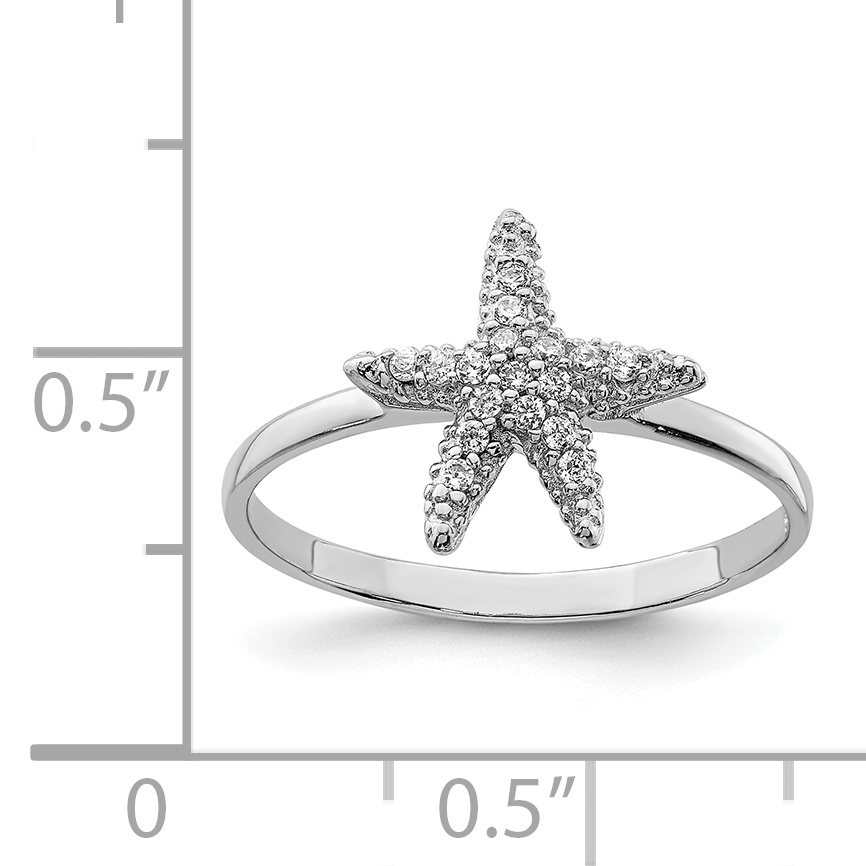 925 Sterling Silver Cubic Zirconia Cz Starfish Band Ring Size 7.00 Sea Shell Life Fine Jewelry Gifts For Women For Her - image 2 de 3
