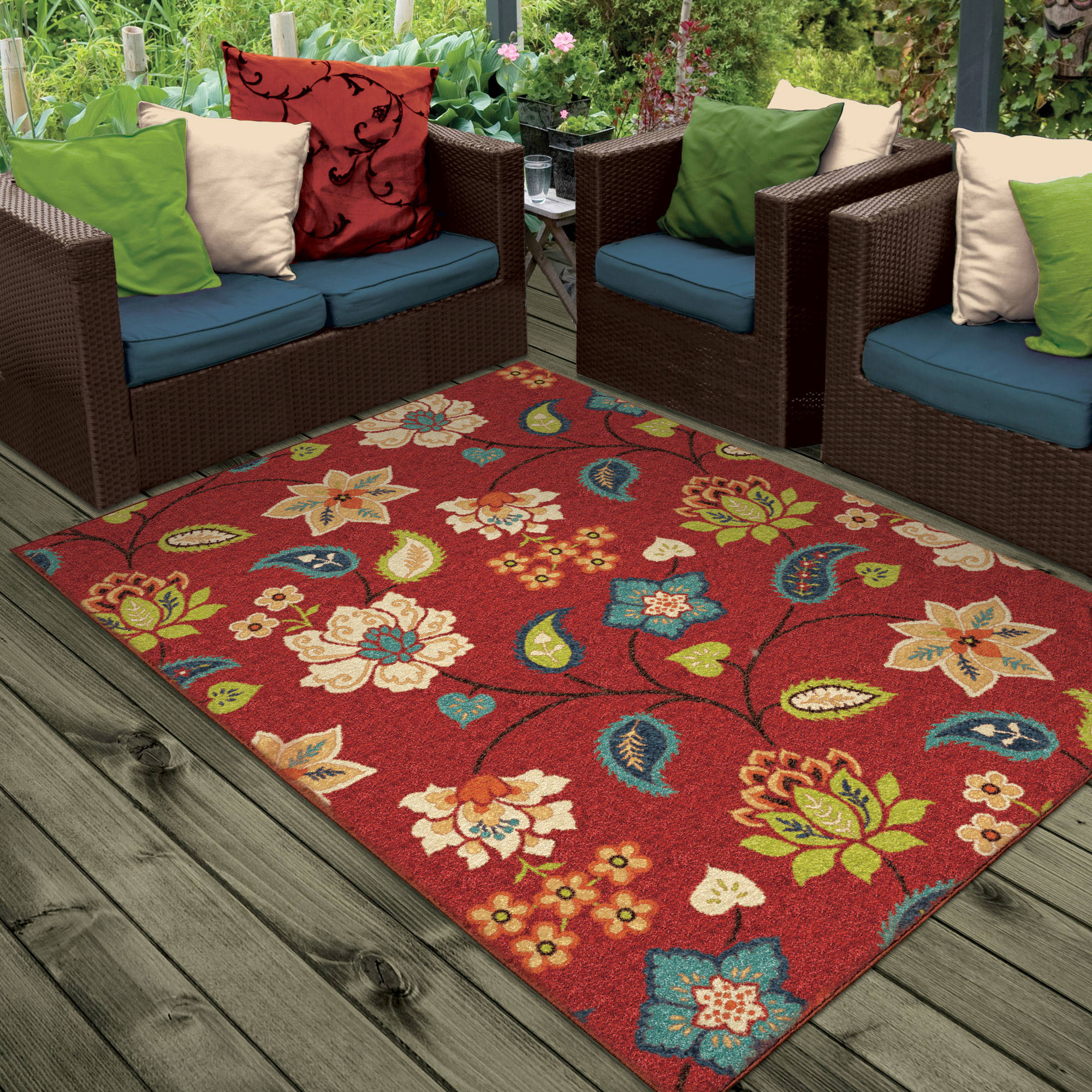 Orian Rugs Floral Garden Chintz Indoor Outdoor Area Rug Walmart