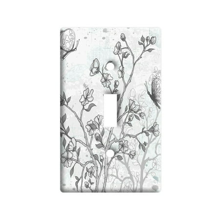 Vintage Butterflies Flowers Floral Sketch Light Switch Plate Cover