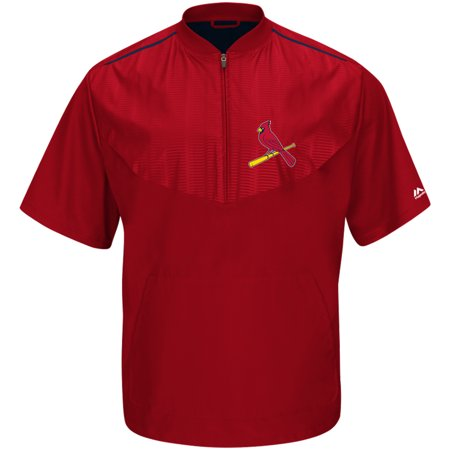 St. Louis Cardinals Majestic Big & Tall Cool Base On Field Short Sleeve Training Jacket - (Majestic Trainer Jacket)