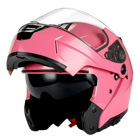 13e12be8 1Storm Motorcycle Modular Full Face Helmet Street Bike Flip up Dual Visor/Sun  Shield Racing Glossy Pink - Walmart.com