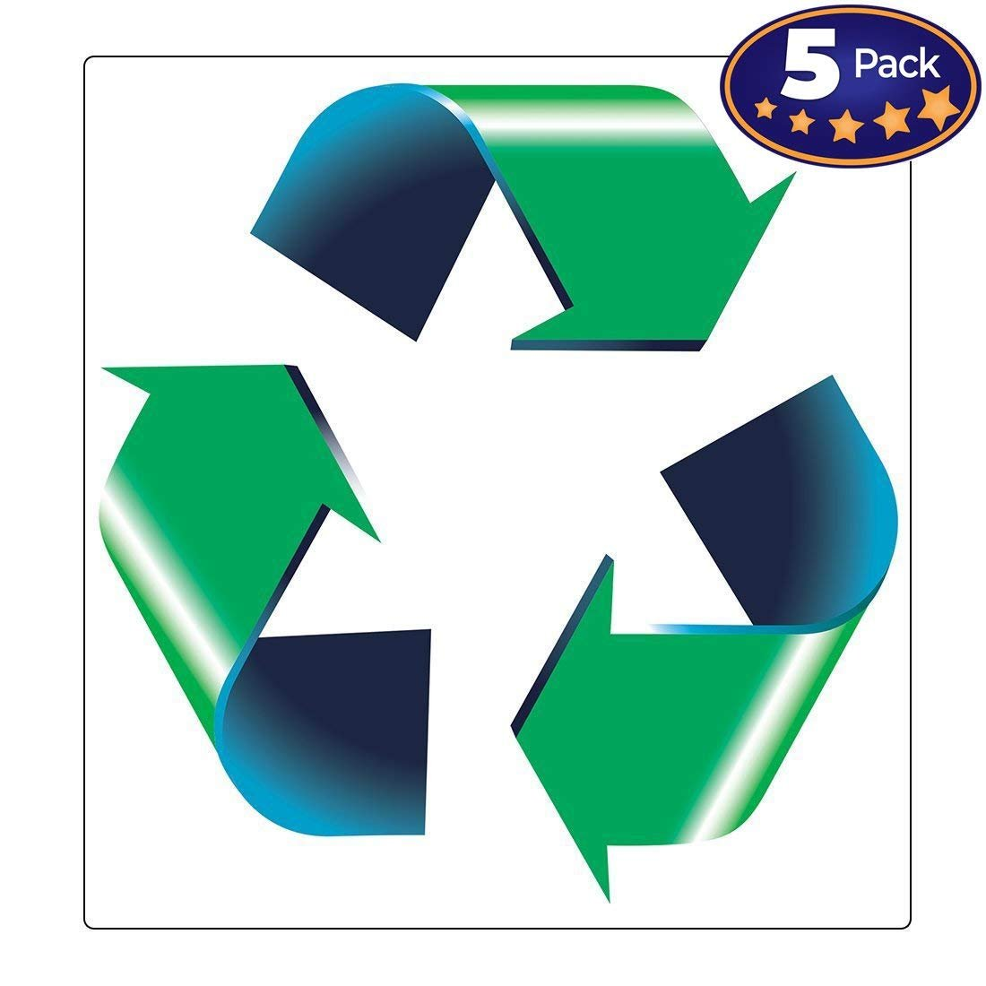 Retail Genius Oversized 8in Recycle Symbol Sticker 5 Pack for Green, White & Blue Recycling Bins & Cans. Large Decals ID Recycled Plastic, Paper, Cardboard, Glass, & Aluminum Recyclable Containers.