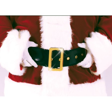Santos Belt (Santa Black Belt Gold Claus Deluxe Faux Leather Pirate Costume)