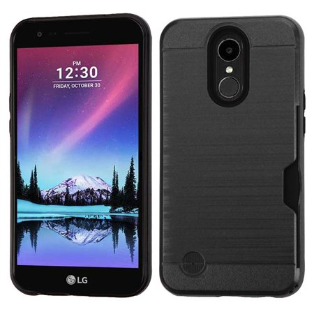 Insten Dual Layer [Shock Absorbing] Hybrid Brushed Case Cover For LG K10 (2017) / K20 Plus / K20 V / Harmony, Black
