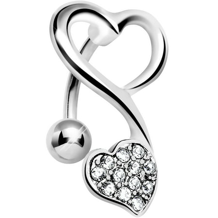 Top Mount Clear Swirling Dual Hearts Belly Ring