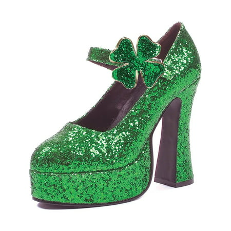 Womens St. Patricks Day Shoes Shamrock 5 Inch Heels Green Glitter Mary Janes (Green High Heels Shoes)