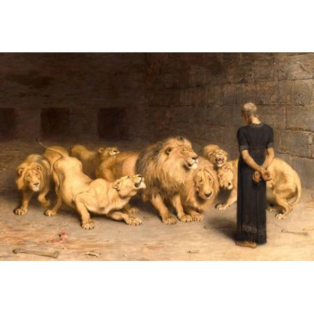 Daniel in the Lions' Den, 1872 Bible Scene Print Wall Art By Briton - Lions Den Coupons
