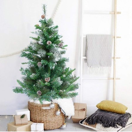 ORNO TTOBE 4FT Artificial Christmas Tree with Decorated Pinecones, White Flocked
