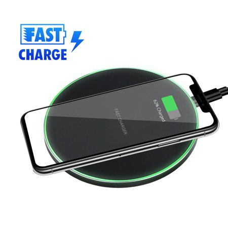 QI Wireless Fast Charger CellPhone Charging Pad Mat for iPhone X/8/XR/XS Max Samsung Galaxy Note 9/8 S10/S10E/S9/S8 Plus ()