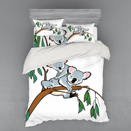 Tropical Animals Duvet Cover Set, Mother and Baby Koala Climbing over Eucalyptus Tree Branch Wildlife Forest, Bedding Set with Shams and Fitted Sheet, 3 Sizes, by Ambesonne