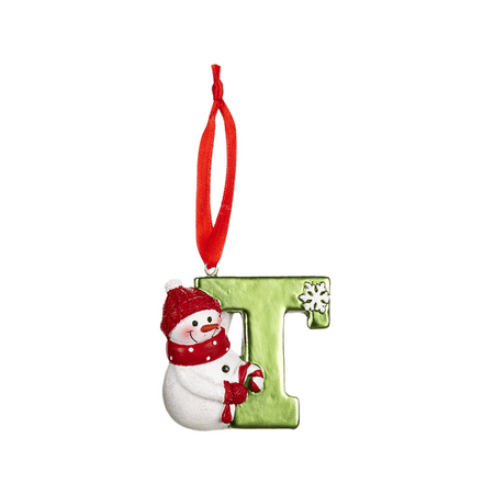 HOLIDAY SNOWMAN Monogram Initial Christmas Ornament - Letter T
