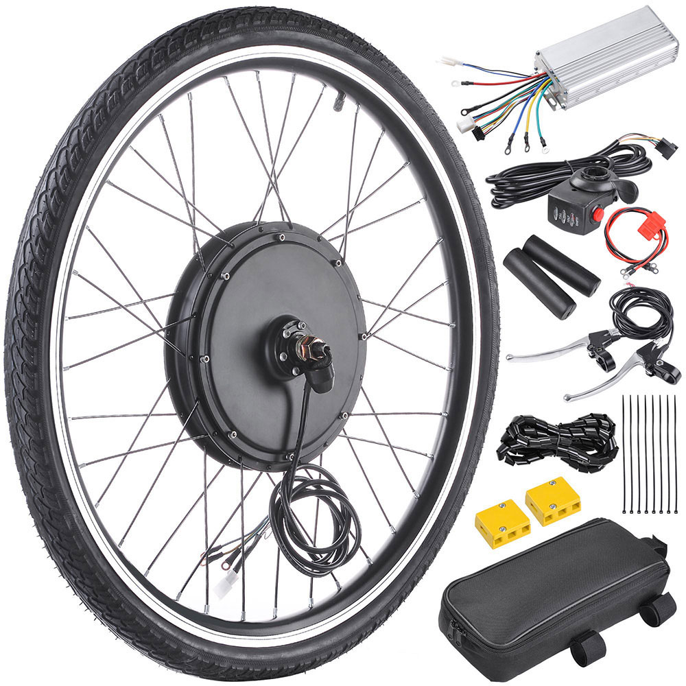 """Yescom 26""""x1.75"""" Front Wheel Electric Bicycle Motor Kit 48V 1000W Bicycle Cycling Engine w/ Dual Mode Controller"""