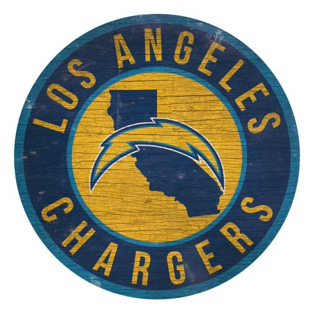 Los Angeles Chargers Sign Wood 12 Inch Round State Design - image 1 of 1