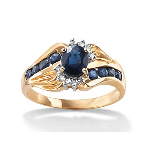 palm jewelry 10k gold oval and sapphire ring