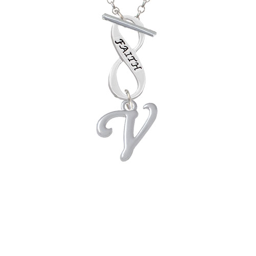 Small Gelato Script Initial - V - Faith Infinity Toggle Chain Necklace