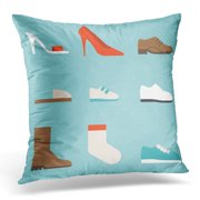 ECCOT Shoes Collection Women's Such As High Heels and Sandal Boots Men's Children and Baby Sneakers Slipper Pillowcase Pillow Cover Cushion Case 18x18 inch
