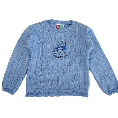 Disney Little Girls Blue Winnie The Pooh Pattern Knit Long Sleeve Sweater 4-6X