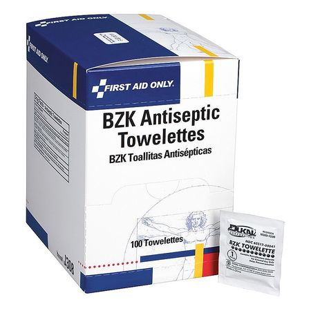 FIRST AID ONLY BZK Wipe,Antiseptics,PK100 J308