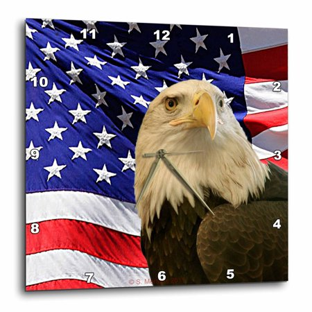 3dRose Bald Eagle and American Flag, Wall Clock, 13 by 13-inch