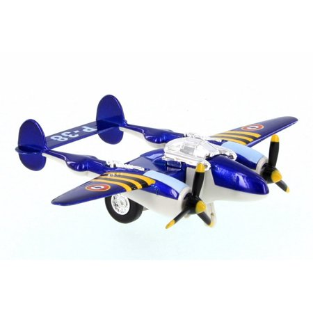 P-38 WWII Pullback Fighter, Blue - Showcasts 508D - Diecast Model Toy Car (Brand New but NO BOX)