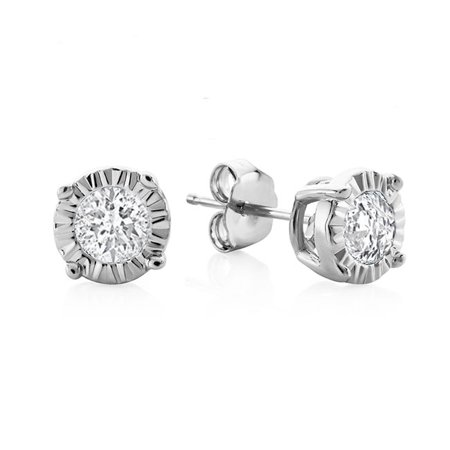 ca5dde76a Netaya - 0.15 Carat Natural Diamond Miracle Stud Earrings in Sterling Silver  - Walmart.com