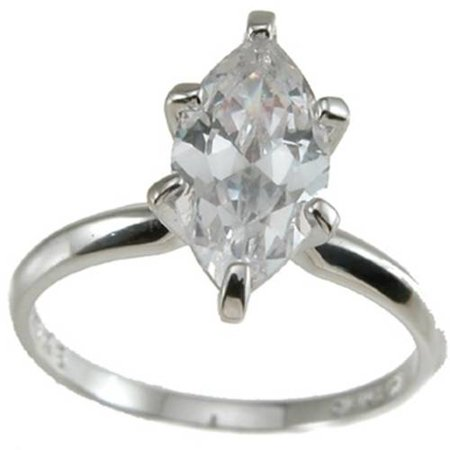 CZ Sterling Silver Marquise Solitaire Wedding Ring