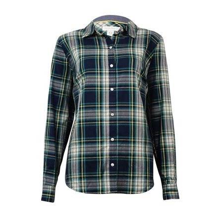 charter club women's herringbone plaid button-down