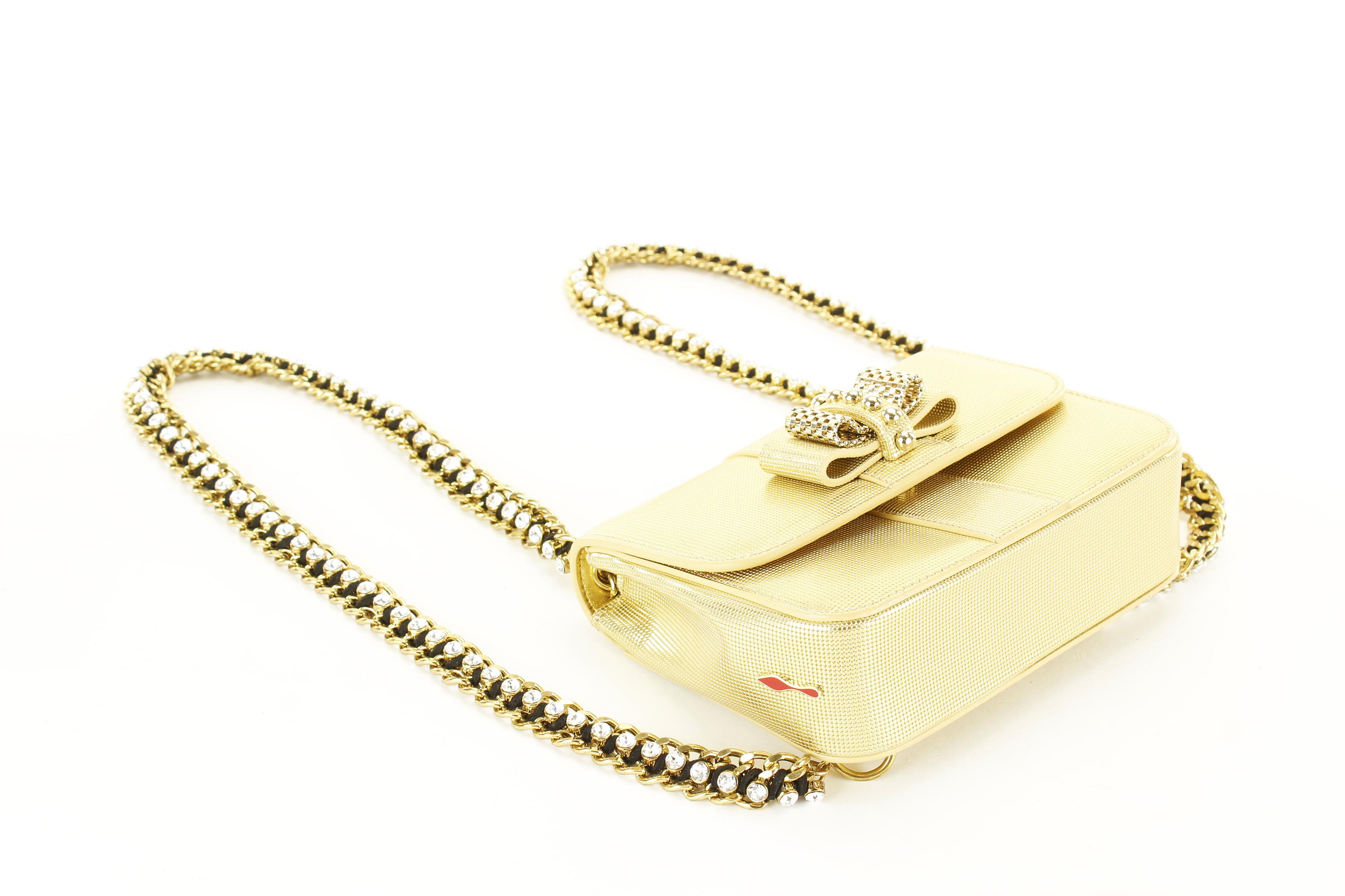 Christian Louboutin - Christian Louboutin Sweet Charity Mini Gold Leather  Womens Backpack - Walmart.com 103d4a4757dab
