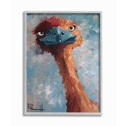 Stupell Industries Curious Ostrich Funny Red Blue Animal Painting Framed Wall Art by Sean Parnell