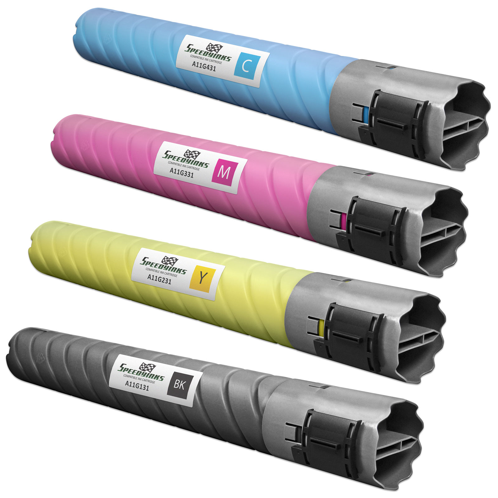 SpeedyInks - 4pk Compatible Konica Minolta TN216 Toner Cartridge Set Black TN216K, A11G131, Cyan TN216C, A11G231, Magenta TN216M, A11G331, Yellow TN216Y, A11G431 for BizHub for C220 C280 C360