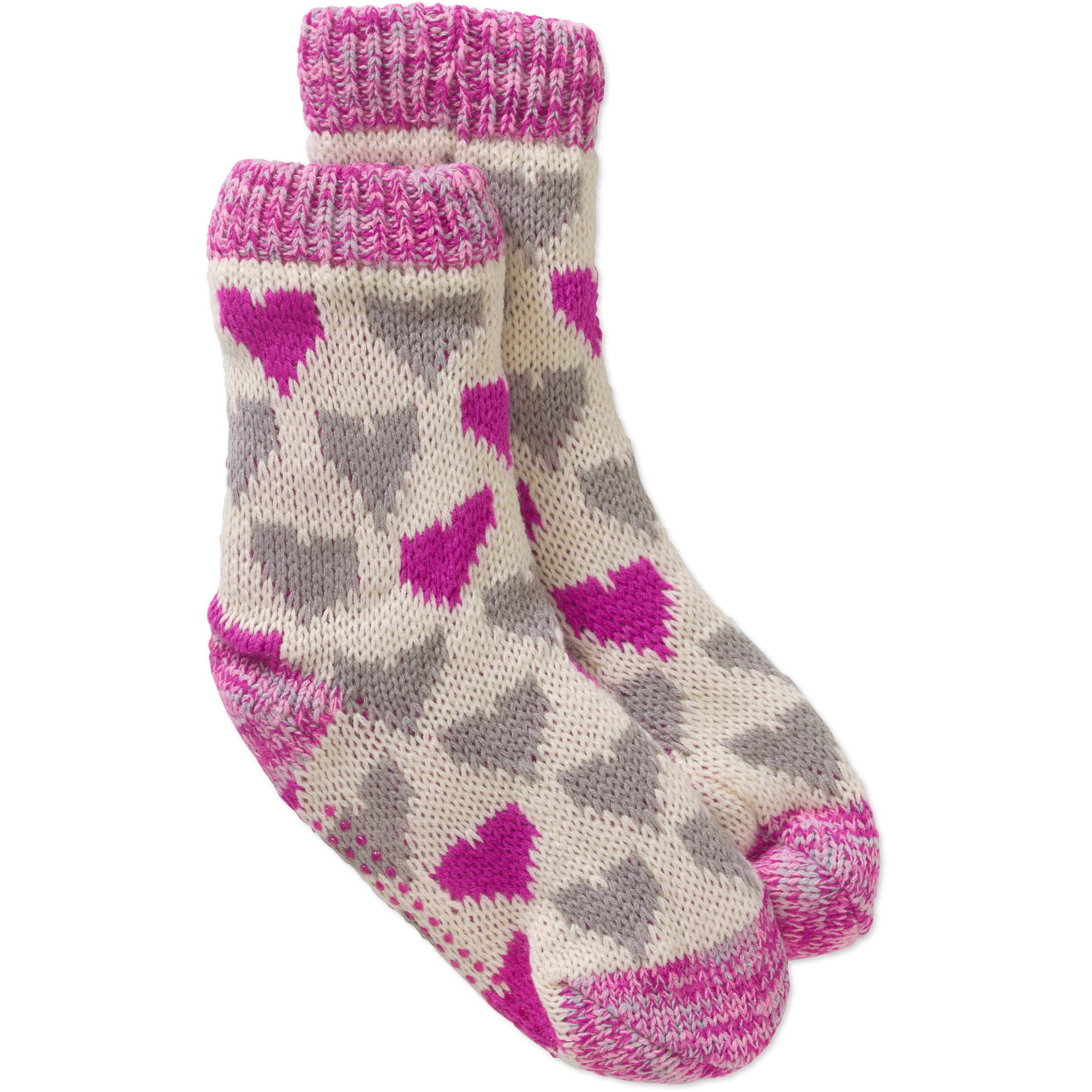 Ladies Pop Hearts with Spacedye Yarn Chunky Slipper Sock with Faux Fur Lining