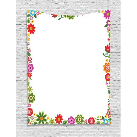 - Kids Party Tapestry, Flourishing Flowers Border Ornaments Fantasy Garden Butterflies Joy Fun Nature, Wall Hanging for Bedroom Living Room Dorm Decor, 40W X 60L Inches, Multicolor, by Ambesonne