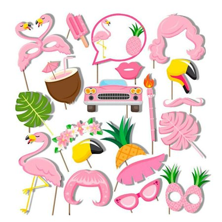 Summer Theme Parties (AkoaDa 20PC Flamingo Summer Hawaii Party Photo Booth Props Party Favors)