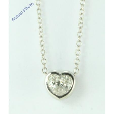 18k White Gold Pear Cut Invisible setting Diamond Heart Pendant (0.4 Ct, G Color, si