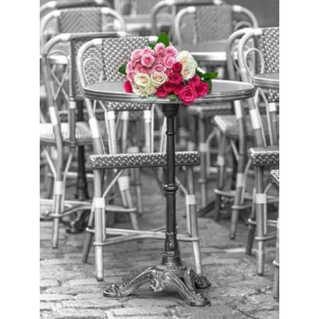 Bunch of Roses on street cafe table in Paris  France Poster Print by Assaf Frank (9 x 12) - French Cafes Paris