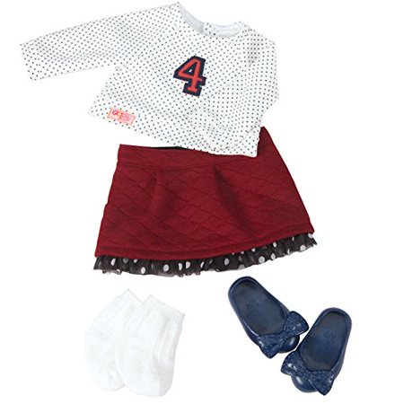 """Our Generation Dolls Right On The Dot Spotted Top with Skirt Outfit for Dolls, 18"""" - image 1 of 1"""