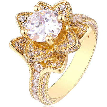 CZ 18kt Gold-Plated Flower Statement Ring