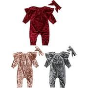 Infant Baby Kids Boys Girls Romper Jumpsuit Bodysuit+Headband Outfit 2PCS Set