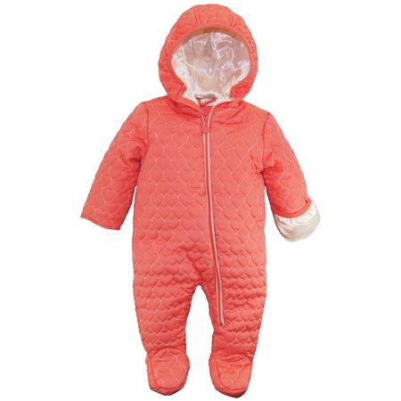 Wippette Baby Girls Heart Quilted Jacket Puffer Snowsuit