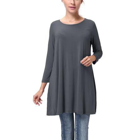 SAYFUT Womens Long Sleeve Tunic Tops For Juniors Women's Tunic Tops Dress Plus Size Blouse Dark Grey