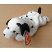 ty beanie babies dotty the dalmatian dog stuffed animal plush toy - 8 inches long - white with black spots and ears by smartbuy
